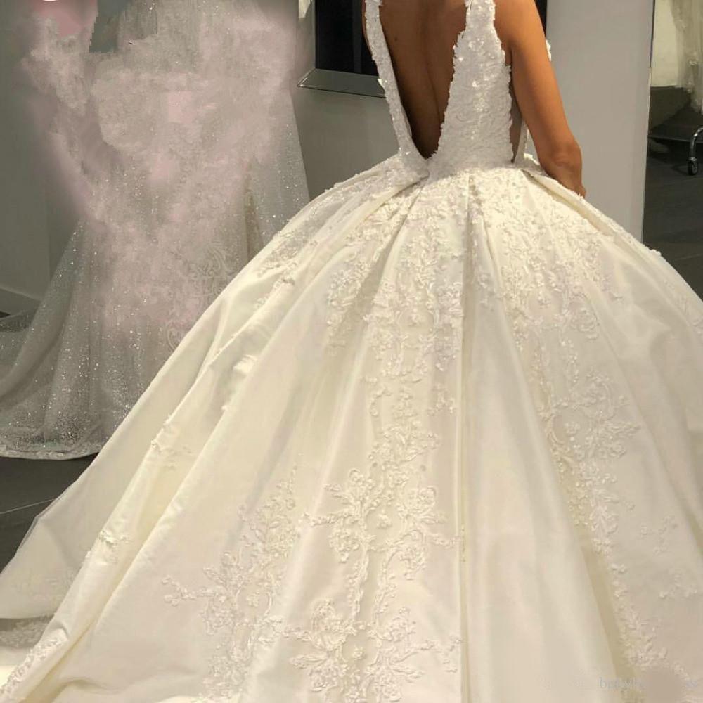 Dubai Arabic Satin Ball Gown Wedding Dresses Vintage Deep V Neck
