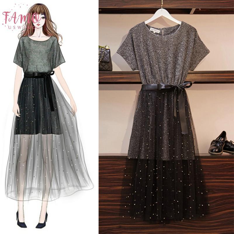 2pcs Set Summer Anix Women Dress Set Ladies Cotton T Shirt Top Ball Thoup Mesh Femme Dress Set