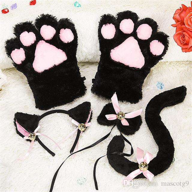 Kitten Cat Maid COSPLAY Cosplay Roleplay Anime Costume Gloves Ear Tail Tie Party Whole Set