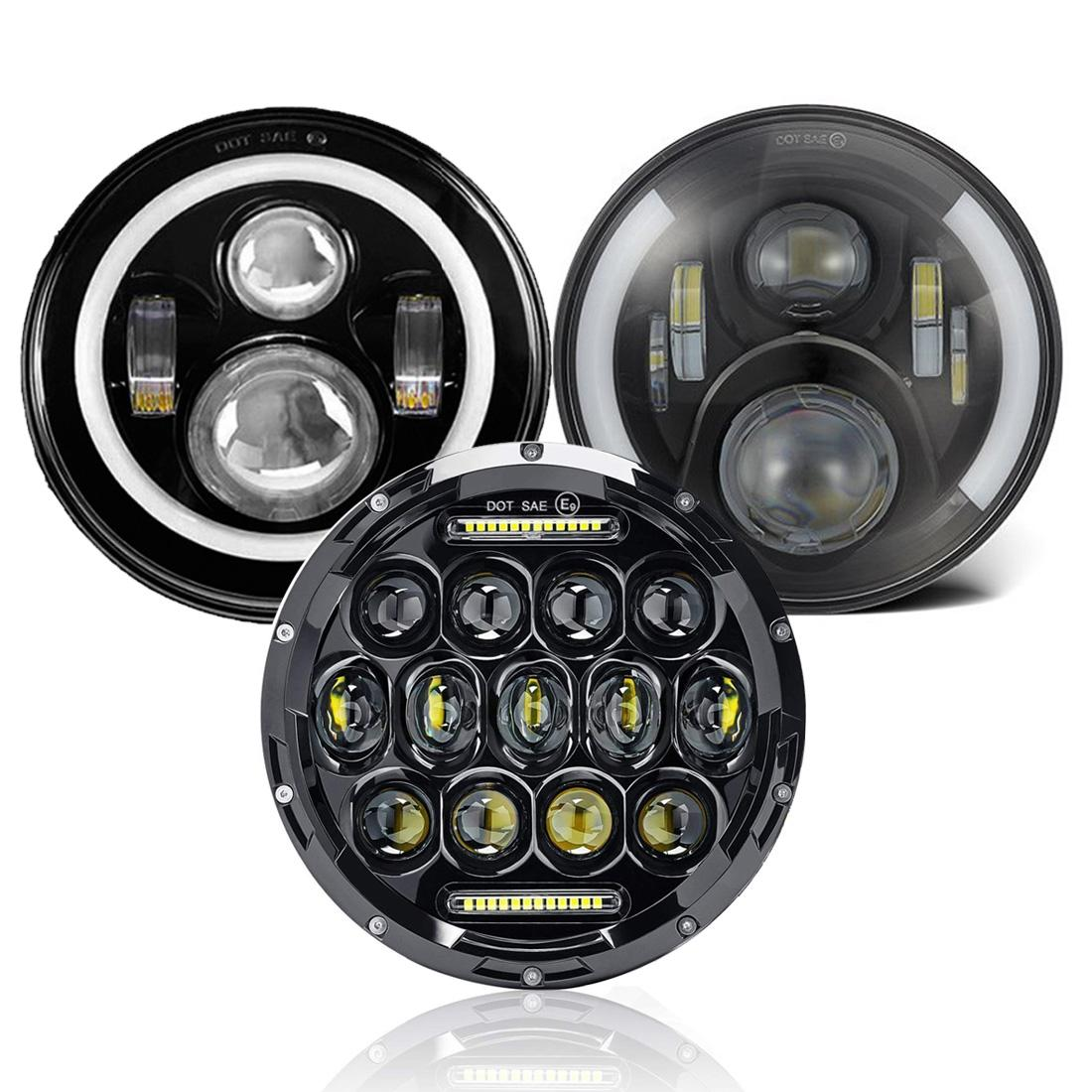 7Inch Led Headlight High Low Beam Halo Ring DRL Headlamp For Jeep Wrangler JK TJ Land Rover For Harley Davidson Lada Niva 4x4