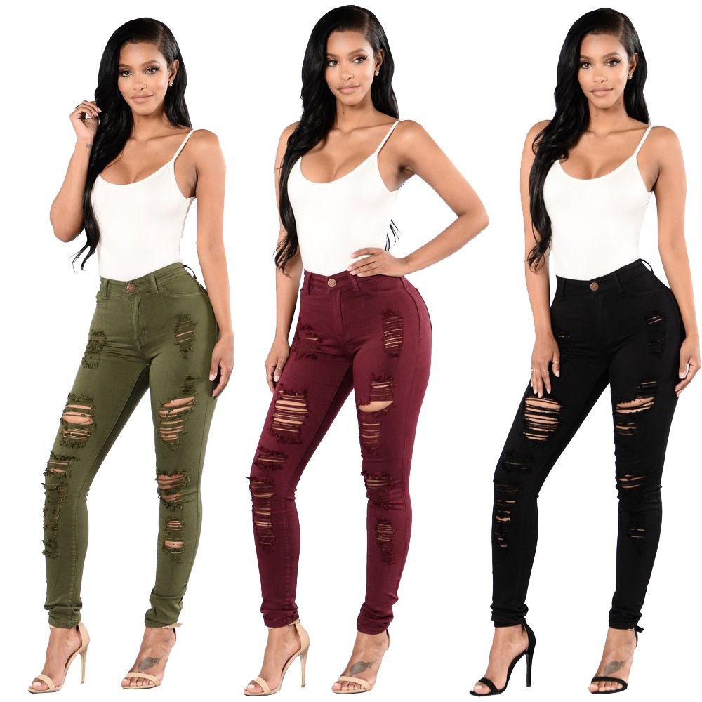 Vintage Club Stili Bayan Jeans Ripped Delikler Pantolon Stretch İnce Boyfriend Kalem Jeans Skinny