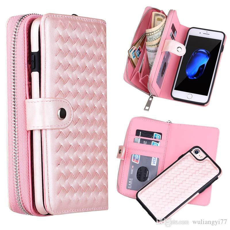 Zipper Wallet Cases For iPhone 6 7 8 Flip Cover Woven Braid PU Leather Detachable Phone Bags Case ForiPhone 8Plus XS Max XR X Pouch