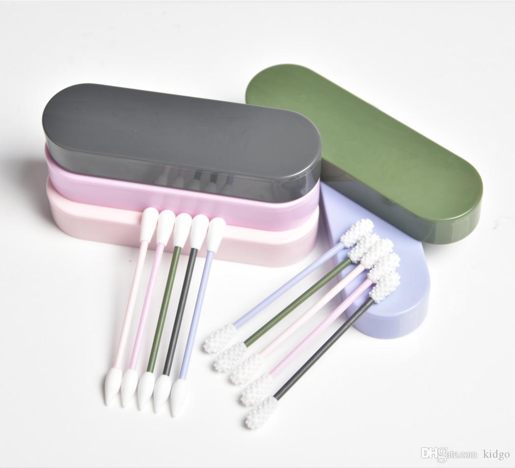 2ST Lastswab wiederverwendbare Baumwolltupfer Ear Reinigung kosmetische Silikon Knospen Tupfer-Sticks mit dem Kasten für die Reinigung Make-up und Ausbesserungen