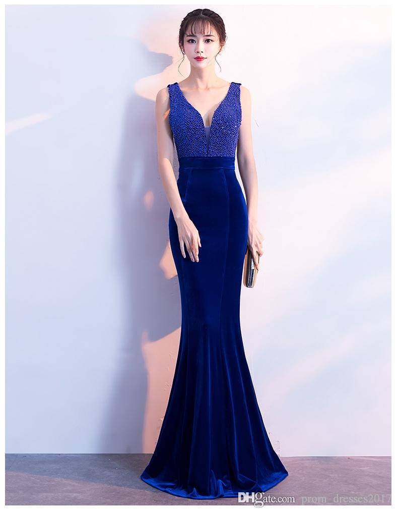 Fishtail Sexy Red Evening Dresses Comfortable Noble Wine Velvet Collar Length V Handmade Pearl Sapphire Blue Party Prom Dresses