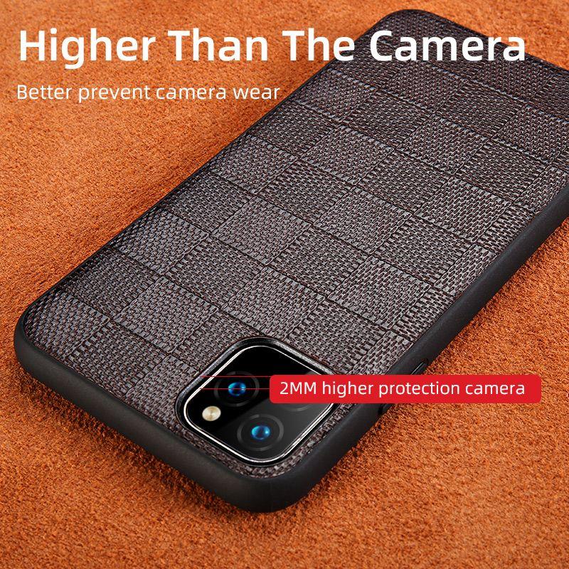 Peau de mouton en cuir véritable place Grain Phone Cases pour Apple iPhone 11 Pro Max X XS Max XR 7 8 6 7 8 6s plus 5 SE 2 2020 5S Couverture