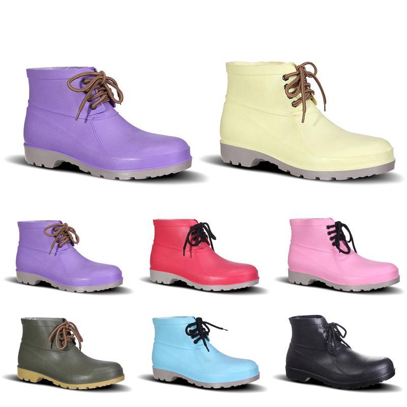 Meilleur 2020 Chaussures Hommes No-Brand Design Bottes de pluie faible travail d'assurance Chaussures en acier Toe Cap Noir Jaune Rose Rouge Violet Vert Taille 38-44