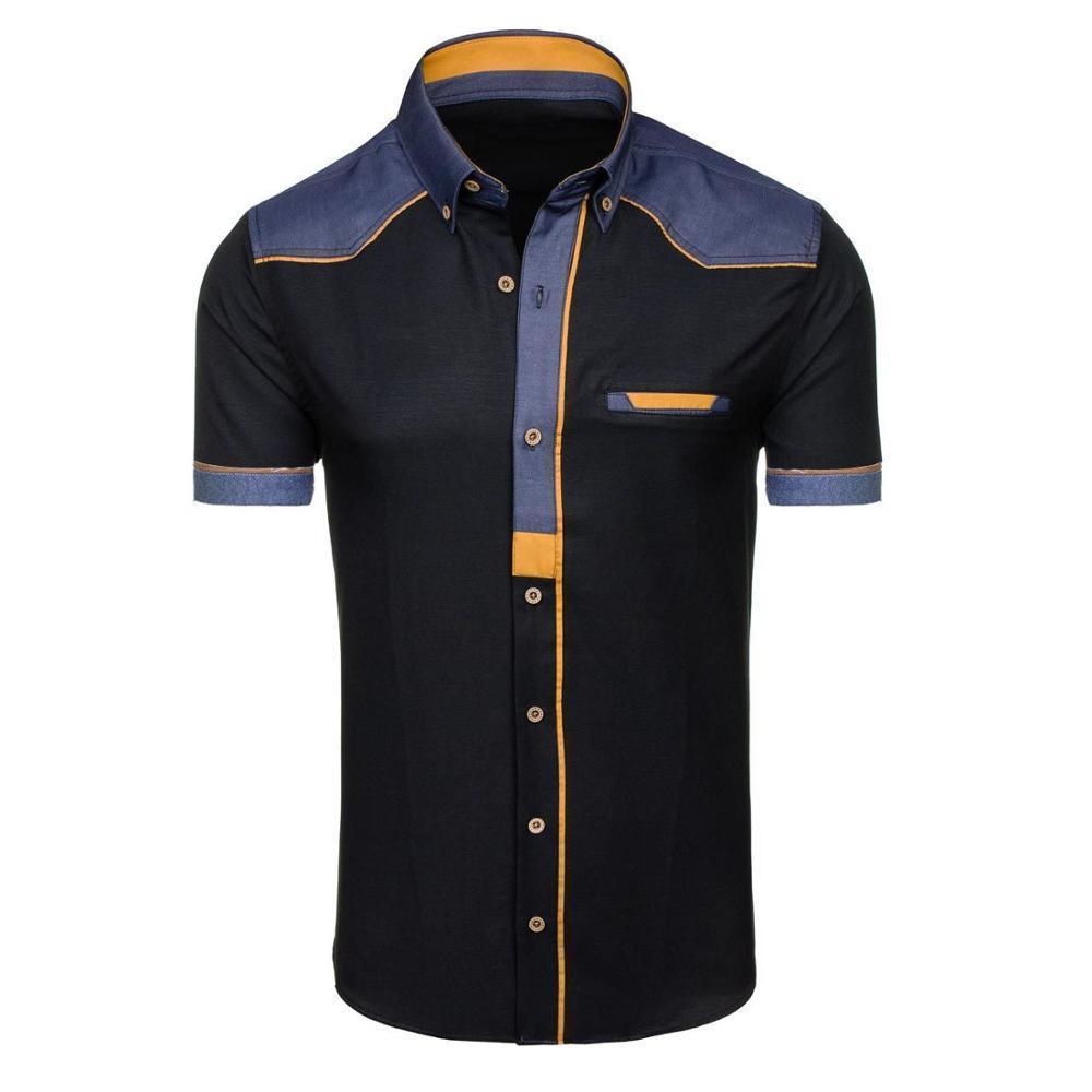2018 New Mens Leisure botão quadrado camisa de mangas curtas Y19071701