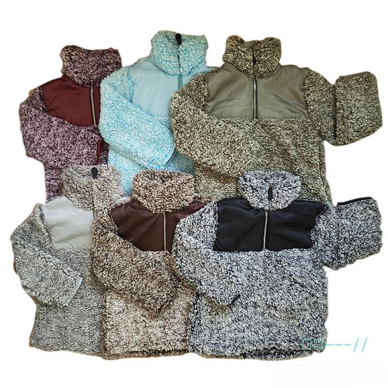 Meninos Meninas Outono-Inverno Sherpa pulôver do revestimento do revestimento do bebê Crianças Quente camisola do Hoodie do velo camisola Patchwork cores Hoodies Outwear C91109