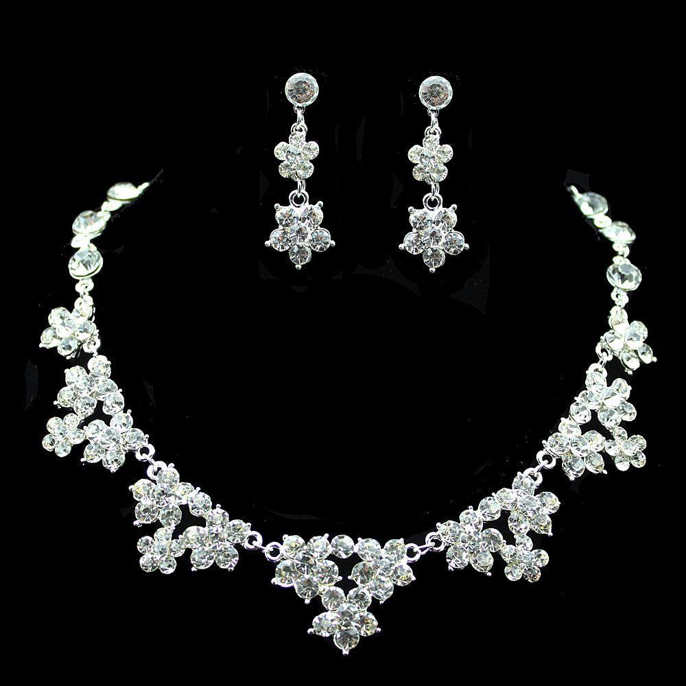 Set di gioielli da sposa Set di orecchini e orecchini con strass da sposa Semplici e brillanti Abiti da sposa Accessori Gioielli alla rinfusa