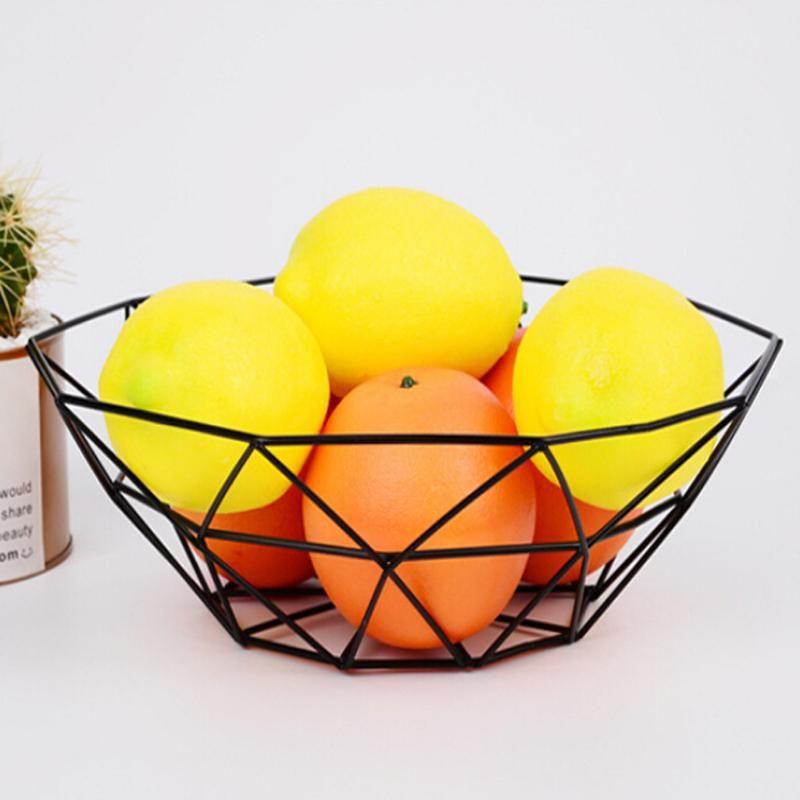 Geometrischer Frucht-Gemüse-Drahtkorb aus Metall Schüssel Küchen Speicher Desktop-Display-Frucht-Gemüse-Weinwannen