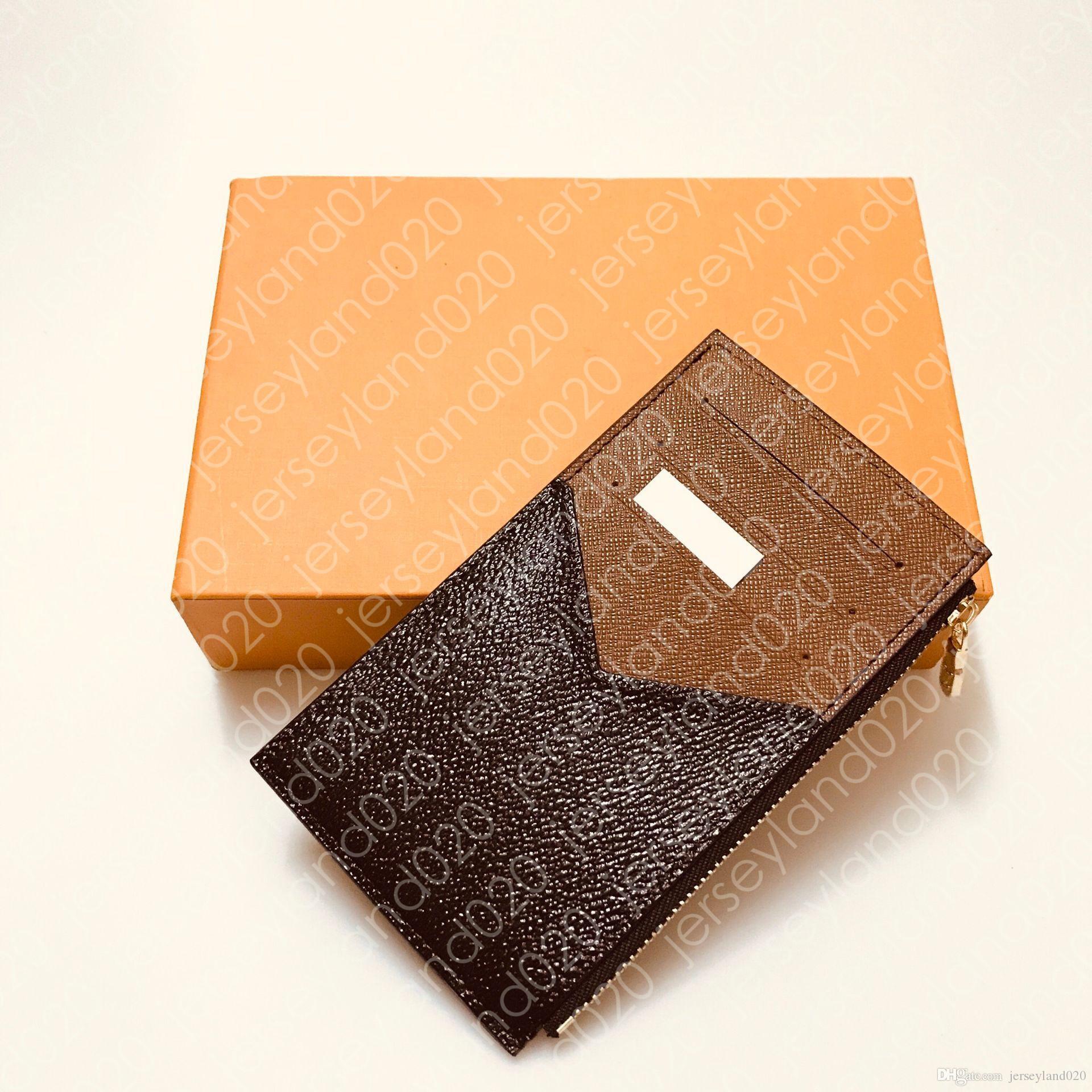 Titulaire de la carte de pièces N64038 Femme Mens design Mode Poche zippée Poche de luxe Porte-monnaie Pièces de crédit Case Marron Brown Toile à carreaux monogrammés