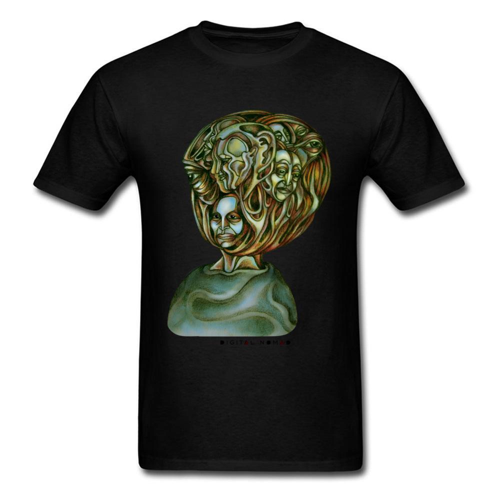 2018 Crazy Art Design Hombre Ropa Camiseta negra Cosas extrañas Caras Camiseta impresa Tops 3D Hipster Tees Rock N Roll