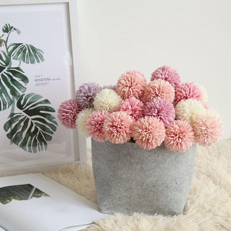 Toptan Yüksek Kalite Ipek Çiçekler Yapay Yuvarlak Top Krizantem Yapay Çiçek Ev Dekor Için