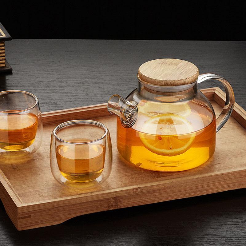 Jardin style chinois résistant à la chaleur en verre de thé avec infuseur Pot bois Couverture Kung Fu Fleur de thé Puer bouilloire tasse de café