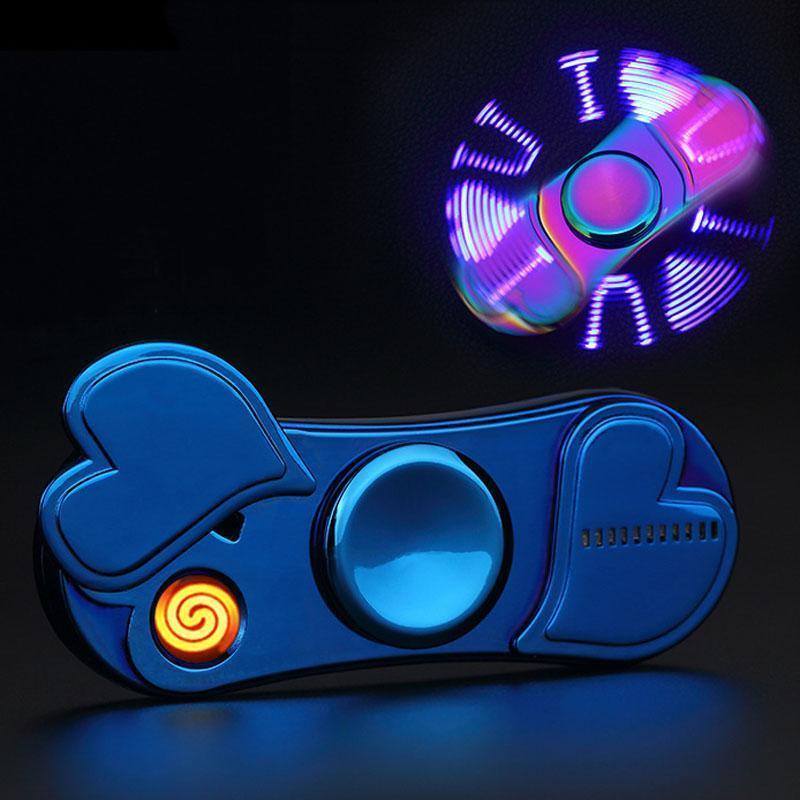 L'amour Modeling LED allume-cigare USB rechargeable Fidget Spinner Briquets Creative doigt Gyro électrique coupe-vent léger BH2581 T