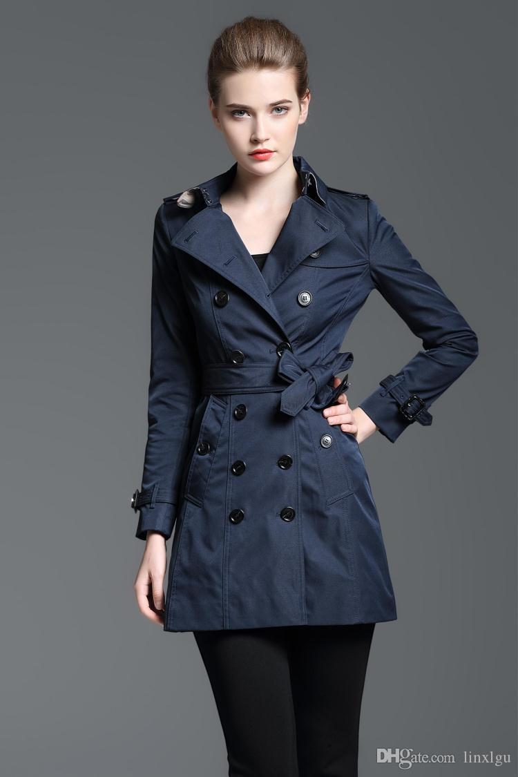 Женская ветровка длинная двубортная сплошная цветная ветровка Тонкая непромокаемая куртка британские классические тренчи горячая распродажа L