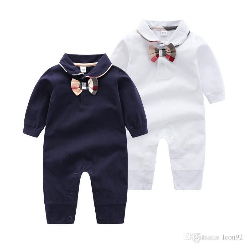 Ins High end Bebek Marka Giysileri Bebek Ekose Yay Romper Yeni Pamuk Yenidoğan Bebek Kız Erkek Bahar Sonbahar Romper Çocuk Tasarımcı Bebek Tulumları