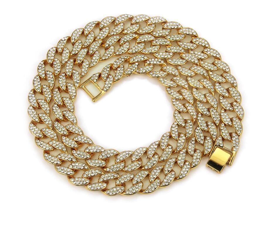 14k золото Майами Мужская кубинский Снаряженная Link ожерелье цепи 24 дюймов 21 дюймов полный камень браслет HIPHOP цепи ожерелье ювелирные изделия соучастник