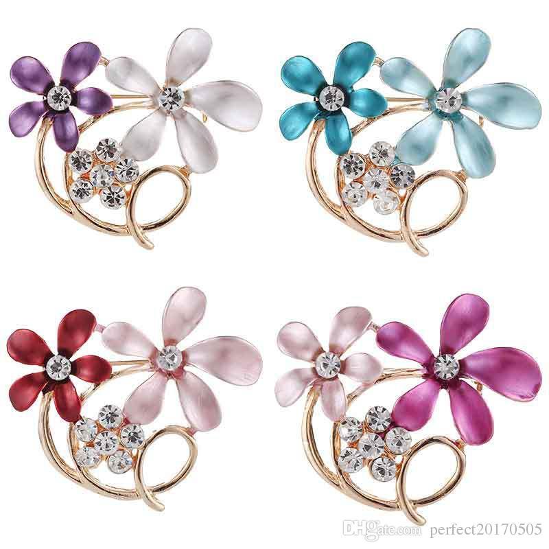 new styles Colorful Rhinestone Crystal Big Water Drop Glass Dangle Bridal Brooch Wedding Pins Fashion Women's Pendant rose flower brooches