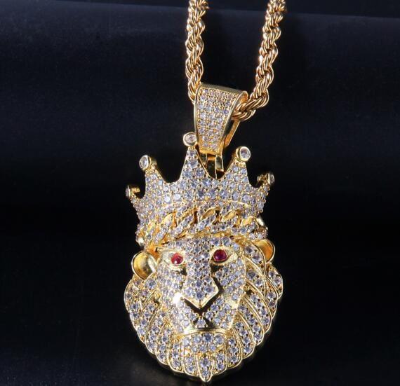 Hip hop yeni taç aslan kafası Su elmas kolye taç aslan altın kaplama erkekler ve kadınlar eğilim takı