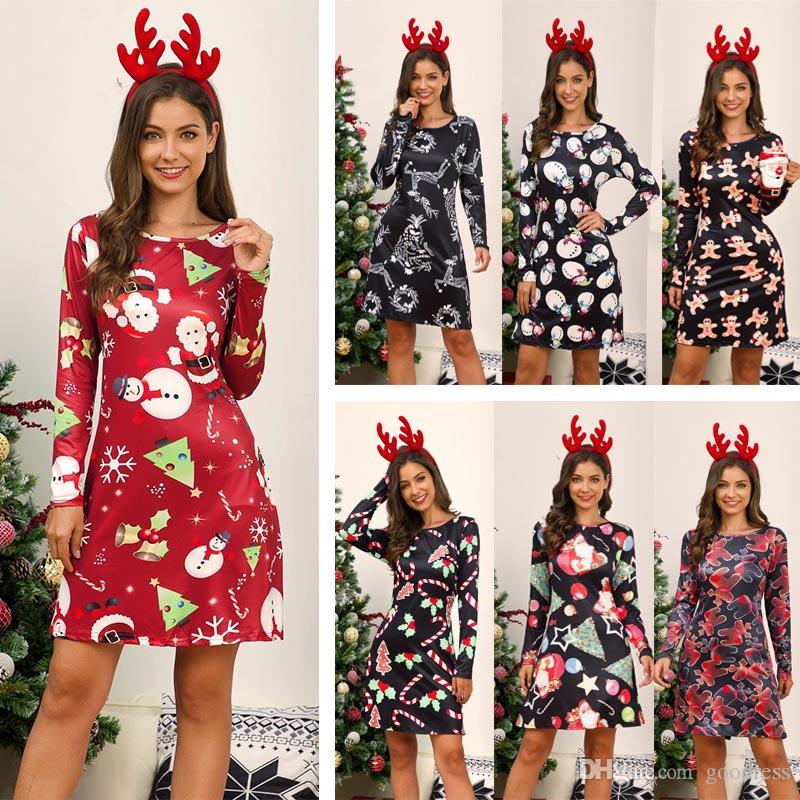 Women Ladies Xmas Ho Ho Ho Snowman Christmas Long Sleeve Flared Swing Mini Dress
