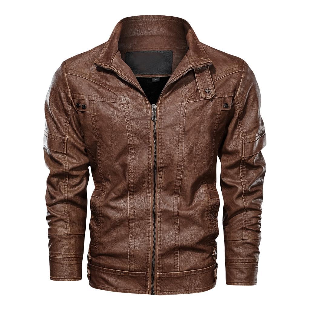 Mode cuir-hiver Veste à capuche Manteaux hommes chaqueta moto hombre Erkek Deri ceket Angleterre style épais chaud veste moto motard