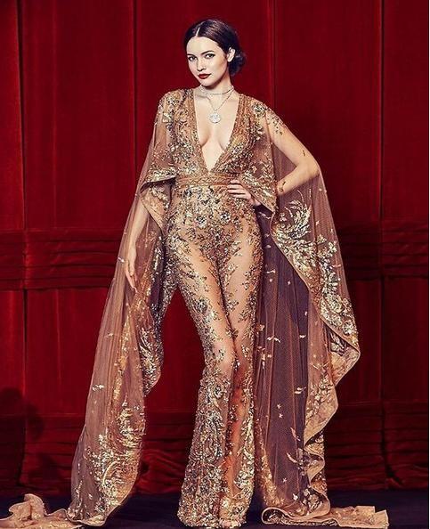 Evening dress Ziadnakad Yousef aljasmi V-Neck Jumpsuit Red Lace Appliques Zuhair murad 2018 Kim kardashian Kylie Jenner