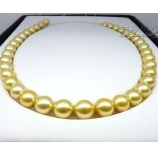 Noble Perfect Round Natural 10-11mm South Seas Gold Pearl Necklace 18inch 14K Gold