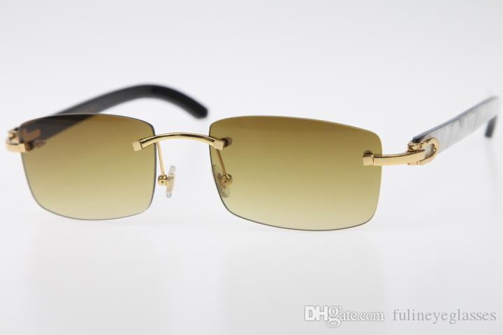 2020 Бесплатная доставка Rimless 8200757 Мужчины Новые очки белый внутри черный рог буйвола Rimless Frame солнцезащитные очки Размер: 56-18-140mm Hot