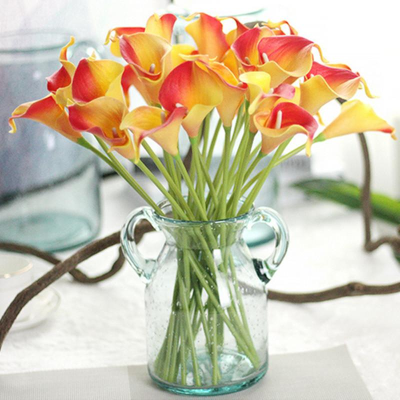 1pc Wedding Pu Calla Lily Flowers Bouquets Home Autumn Decoration Artificial Plants Fake Flores C19041701