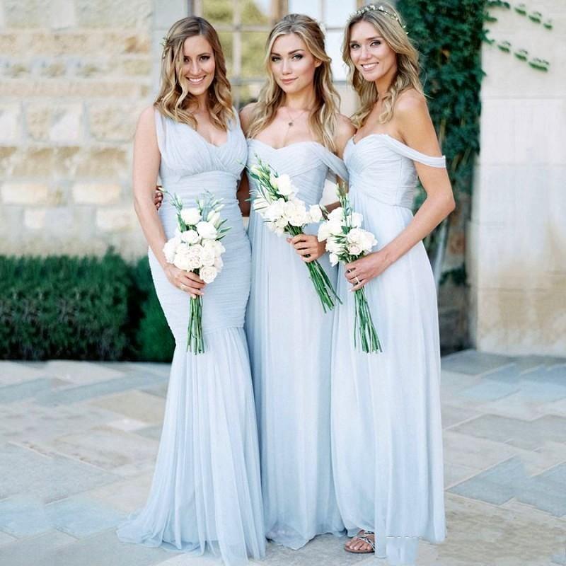 Elegante Cloud Blue Brautjungfernkleider Sexy Ärmel Ruched Reißverschluss Backless Hochzeit Kleid 2017 Chiffon- Fußboden-Längen Hübsches Abendkleid