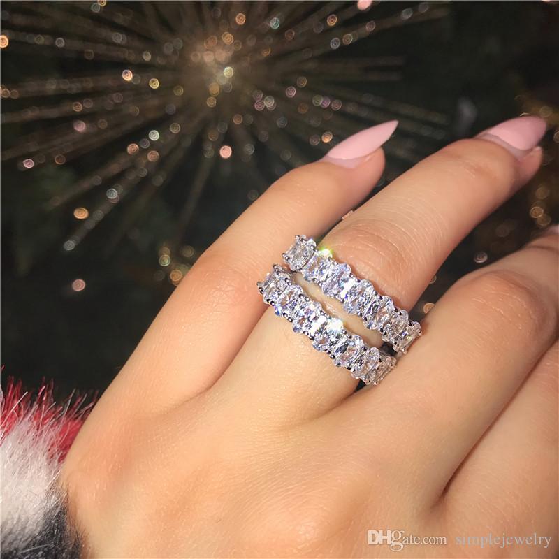 Choucong الأبدية وعد الدائري 925 فضة البيضاوي قص الماس الاشتباك خواتم الزفاف الفرقة للنساء الرجال المجوهرات