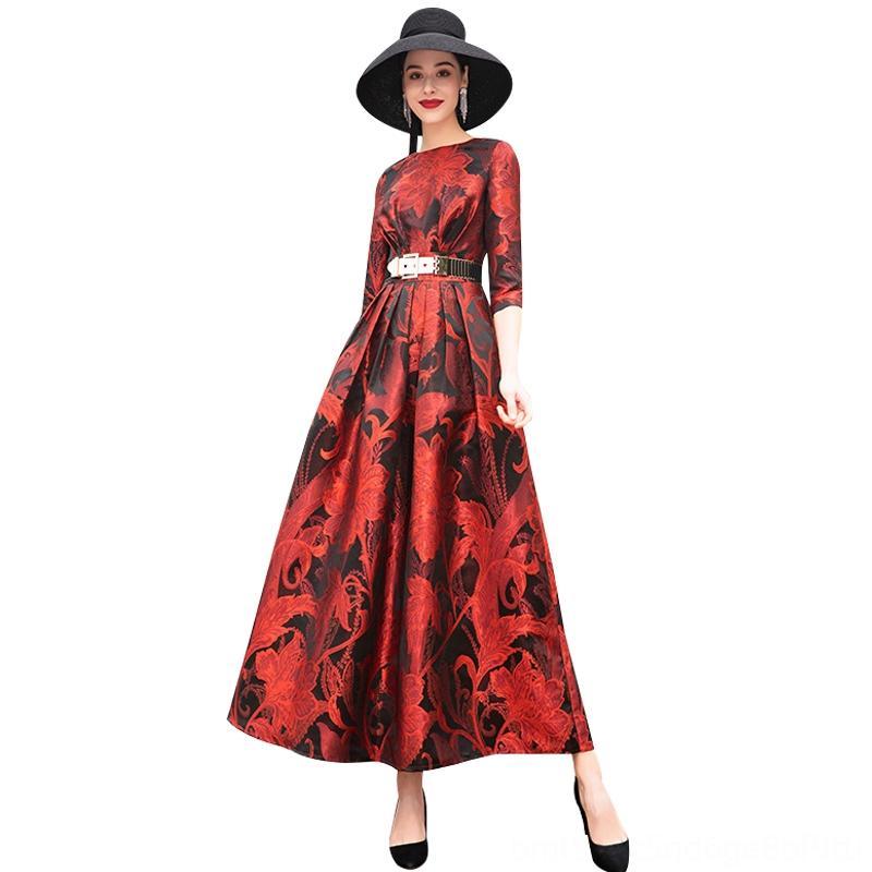 Jacquard Runway Vestito lungo O manicotto mezzo partito di nuovo anno da sera delle donne Figura intera Splendida floreale lungo abito DZ1179