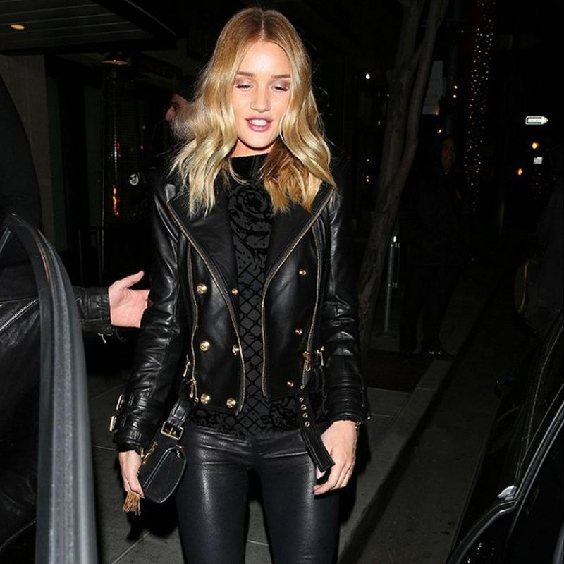 LIMITED BLACK REAL LEATHER GENUINE SHEEPSKIN BIKER JACKET Gold Double Breasted Zipper front LONG SLEEVES BUCKLE BLET ZIPPED CUFF