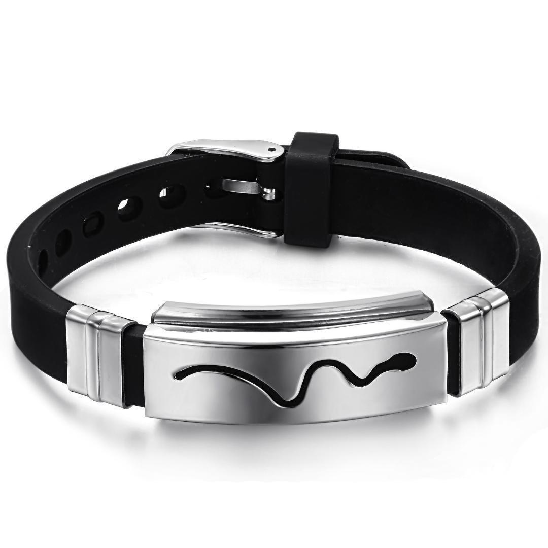 Pulseira de silicone sílica gel meninos pulseira pulseiras para homens 316l pulseiras de aço inoxidável padrão de cobra