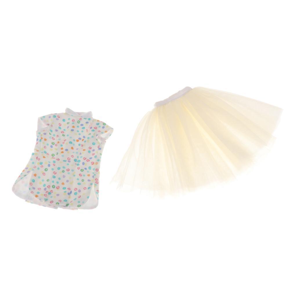 1 / 3Cheongsam estilo tapa y una falda de BJD Dollfie LUTS ropa de la muñeca, muñecas de vestir Accesorios para arriba, 3 estilos a elegir