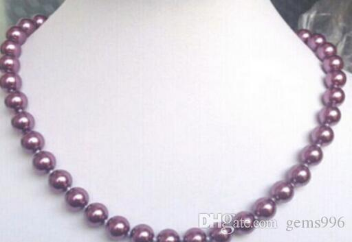 """FREE SHIPPING++ + + 8mm Purple South Sea Shell Pearl Necklace 18"""""""