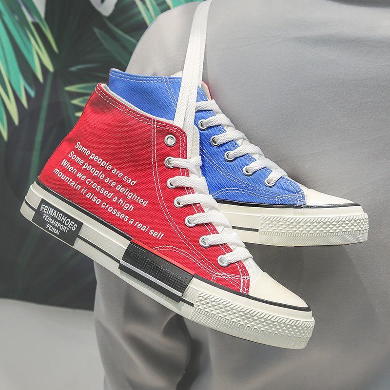 zapatos del tablero alumno Otra ins zapatos de lona High-top Harajuku para hombres y mujeres de Corea amantes de la moda Joker mandarina coincidencia de color de pato