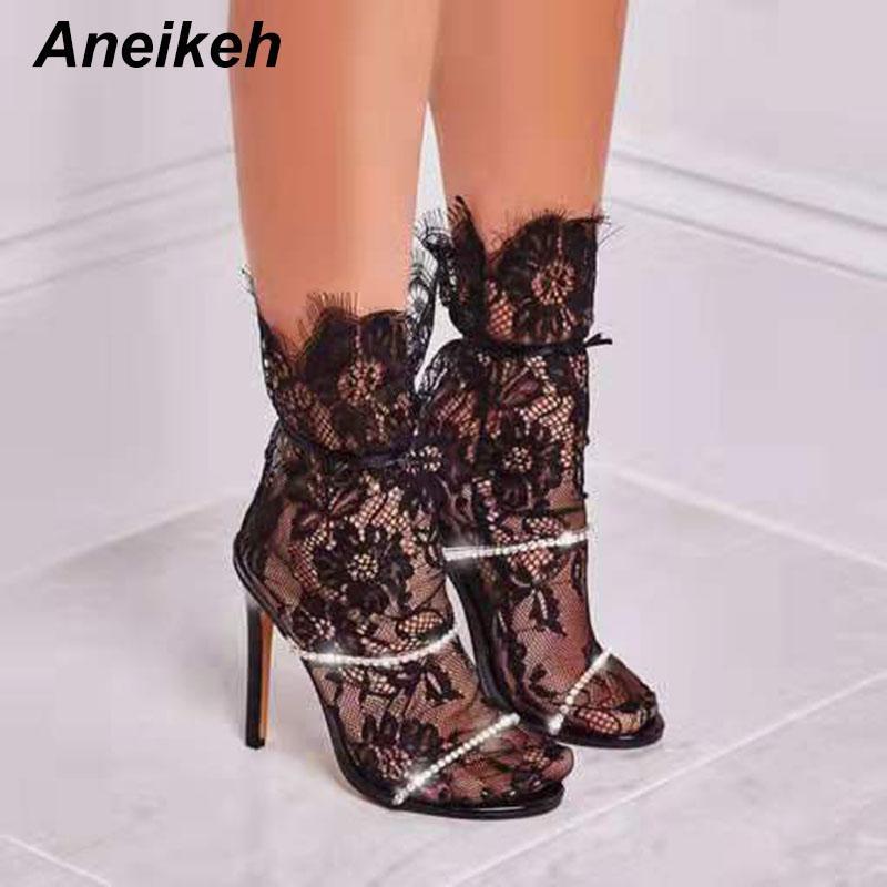 Aneikeh 2020 Yaz Pullarda Kristal Kadınlar Terlik Ayakkabı Yüksek Topuklar Sandalet Açık ayak Topuk Slayt Sandalias Mujer yazdır leopard