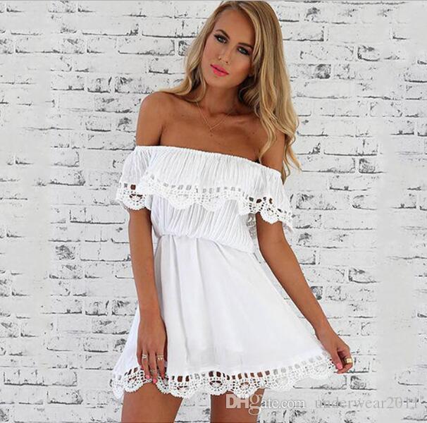 Novo Estilo Mulheres Verão laço branco Costura Vestido Off Shoulder Strapless Sexy Vestido Corte pescoço Mini vestidos 1367