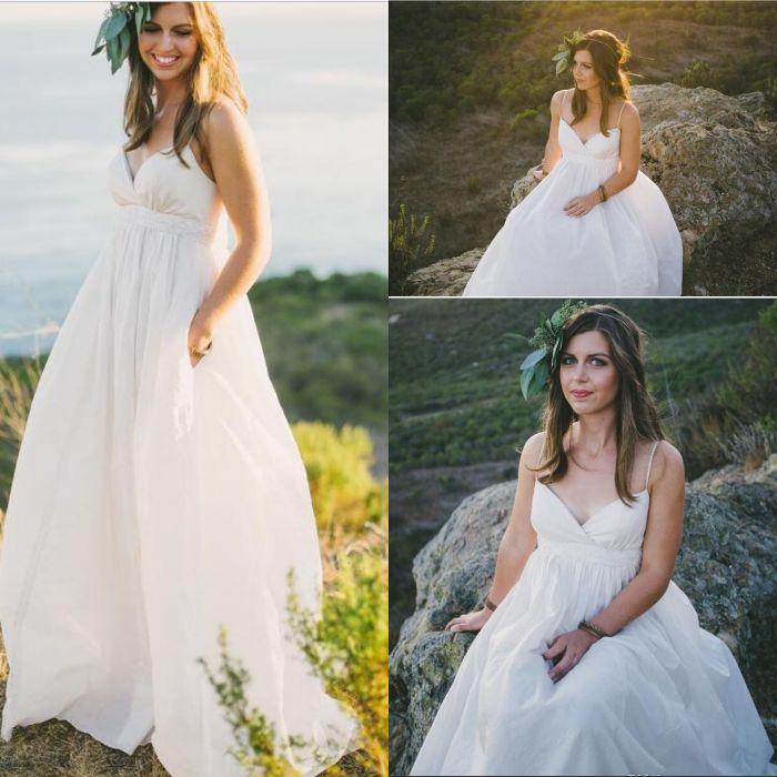 2020 maternità Beach Wedding Dresses Sexy Plus Size spalline in rilievo Perle Avorio taffettà Paese stile impero Abiti da sposa