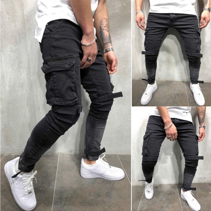 NOUVEAU Hommes Slim Fit Poches Urban plissés Armée Pantalons Hip Hop cool Pantalon cargo mâle noir Taille Plus 4XL