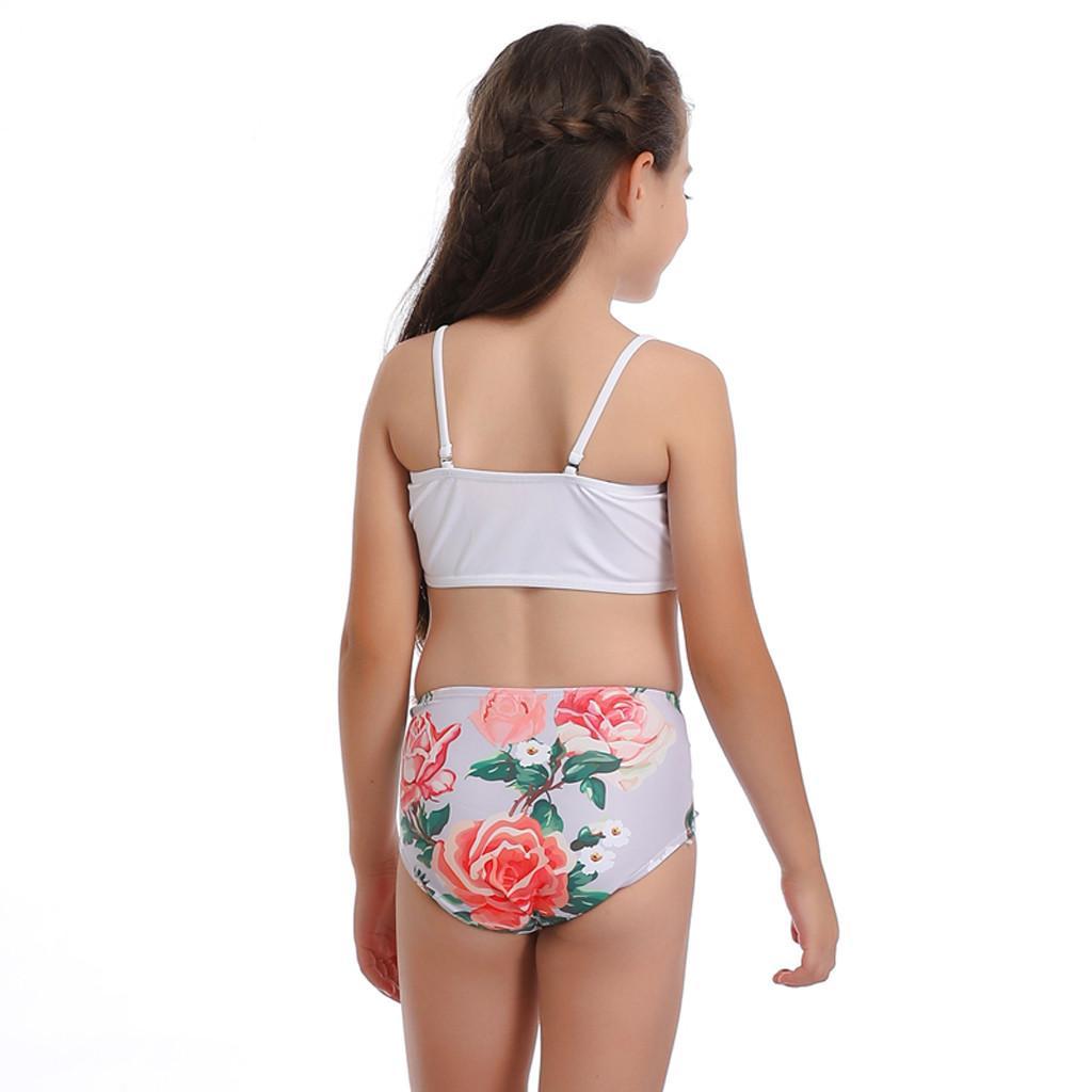 Pleated Ruched Children's Swimsuit For Girls Tankini Swimwear Girls Strapless Beach Bikini Kids Swim Sports Badpak Meisje #15