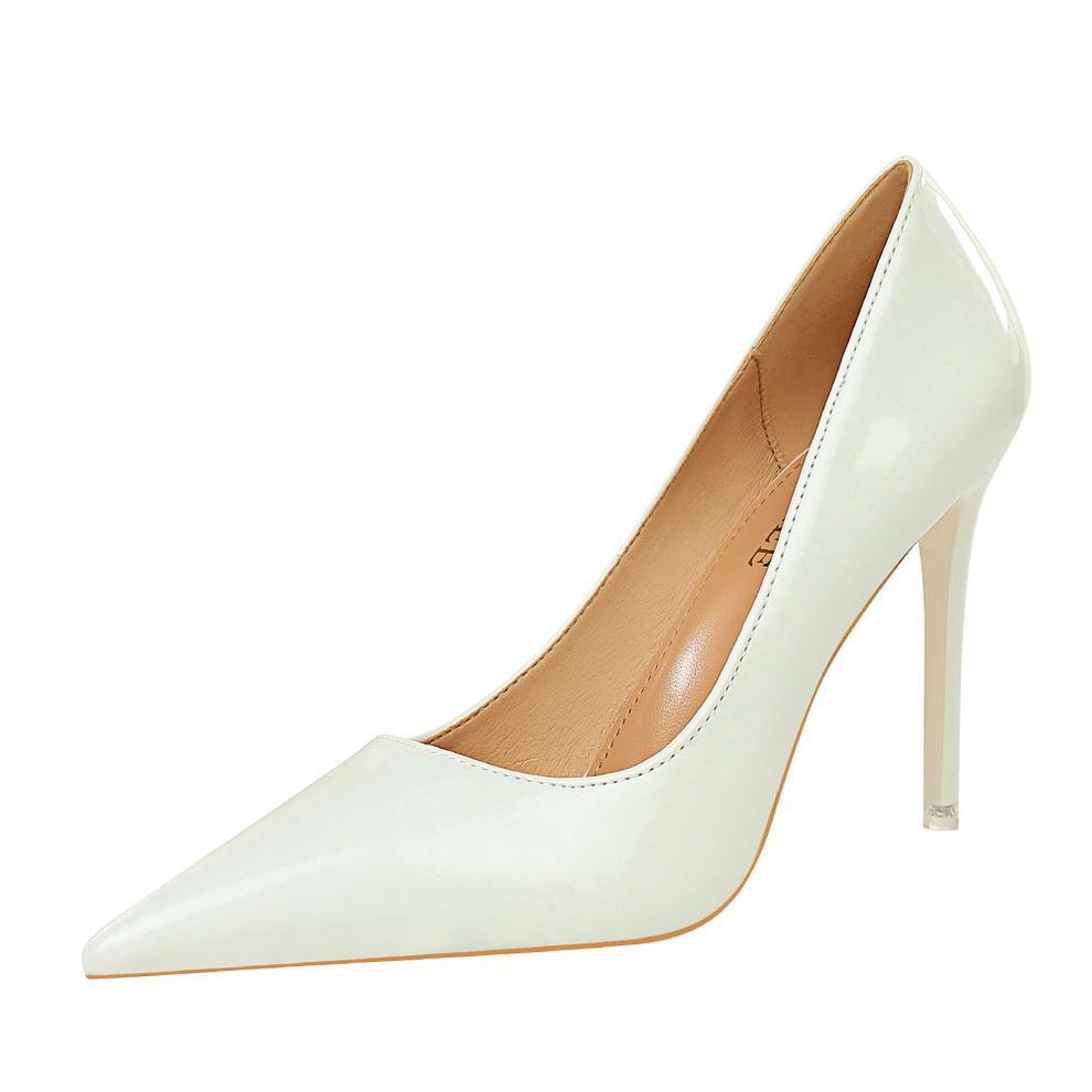2020 Роскошных женщины насосов Высоких каблуков ботинки платья 6см 8см 10см сексуальный острый нос партия мода Кристалл Большого размер V5545