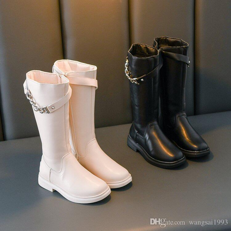 Girls Riding Boots Girls Long Boots Princess Motorcycle Booties Flat Heel Shoes