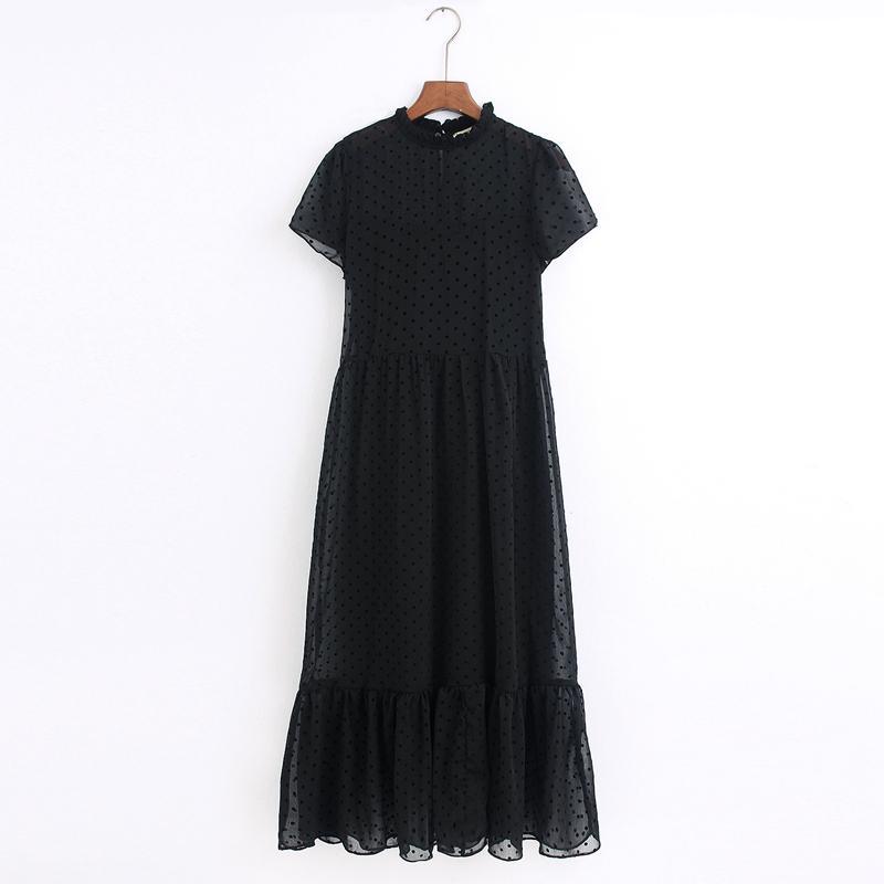 2020 femmes de mode points robe noire courte col volants manches dames midi élégante robe Vestidos