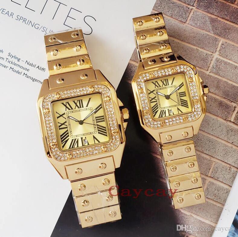 Calendário de luxo New Style Rhinestone Homens Mulheres de pulso da forma do aço relógio de quartzo de alta qualidade inoxidável amante relógios com caixa