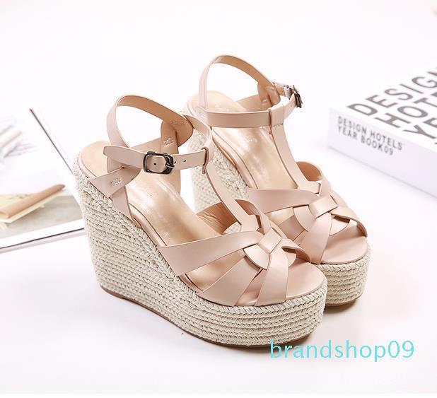 Hot Sale-Moda sandálias de grife senhoras cunha sandálias bege T tiras de malha de palha tecida sapatos de plataforma mulheres luxo escorregas de tamanho de 35 a 40