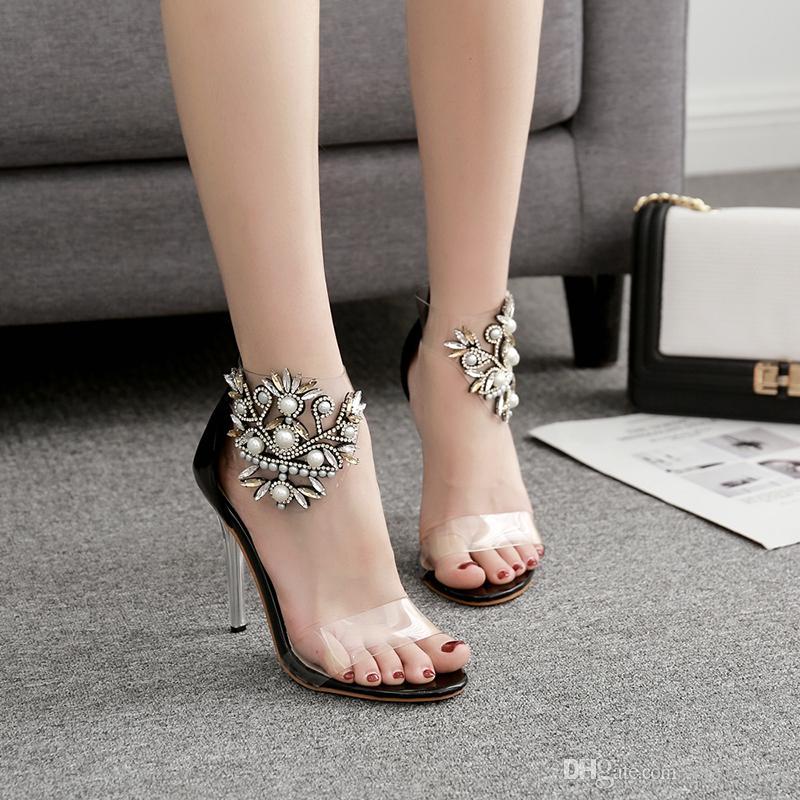 Boda de moda Zapatos para mujer Zapatos con punta abierta Sandalias de verano Graduación Tacones de aguja altos Cristal Zapato Tacón 10 cm perla 40 tamaño