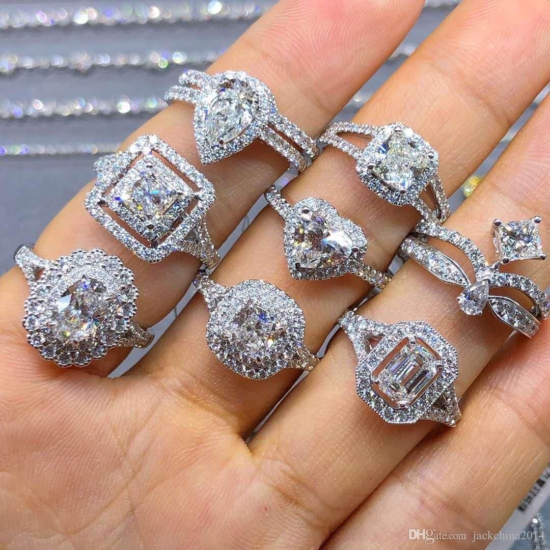 Choucong уникальные роскошные ювелирные изделия настоящие 925 серебро серебро 925 много стилей белый Topaz CZ Diamond Gemstones женщин свадебное кольцо для любовников